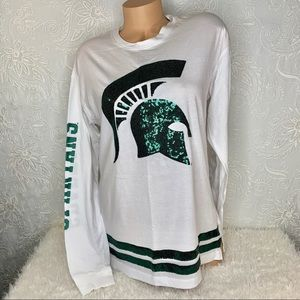 VS PINK MSU Spartans Oversized Bling T-Shirt